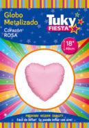 CORAZON Metalizado 18″ | Rosa x 5 Unidades