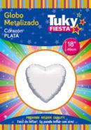 CORAZON Metalizado 18″ | Plata x 5 Unidades