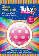 REDONDO Metalizado 18″ | Lunares Rosa x 5 Unidades