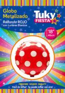 REDONDO Metalizado 18″ | Lunares Rojo x 5 Unidades