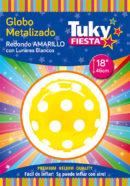 "REDONDO Metalizado 18"" | Lunares Amarillo x 5 Unidades"