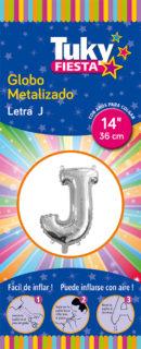 """14"""" LETRA J – Metalizado x 5 Unidades"""