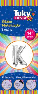 """14"""" LETRA K – Metalizado x 5 Unidades"""
