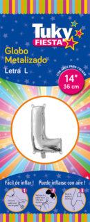 """14"""" LETRA L – Metalizado x 5 Unidades"""