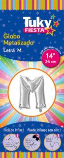 """14"""" LETRA M – Metalizado x 5 Unidades"""