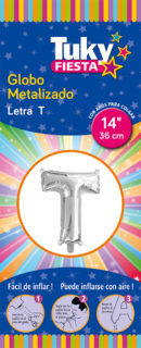 """14"""" LETRA T – Metalizado x 5 Unidades"""