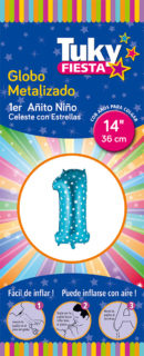 """14"""" 1 Año CELESTE con Estrellas – Metalizado x 5 Unidades"""