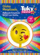 Emoji Guiño Beso 18″ Tuky Metalizado x 5 u.