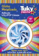 Lollipop Celeste 18″ Tuky Metalizado x 5 u.