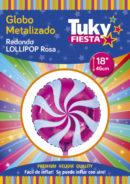 Lollipop Rosa 18″ Tuky Metalizado x 5 u.
