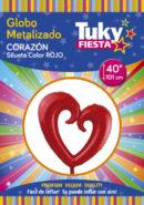 Corazon Rojo 40″ Tuky Metalizado x 5 u.