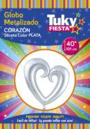 Corazón Plata 40″ Tuky Metalizado x 5 u.