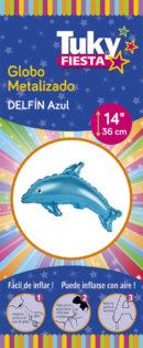 Animales | Delfin Celeste 14″ Tuky Metalizado x 5 u.