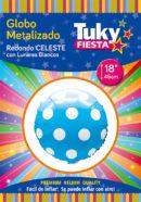 Redondo Metalizado 18″ | Lunares Celeste x 5 u.